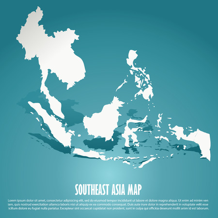 asia map: Southeast Asia map, AEC, Asean Economic Community map on green background, vector illustration