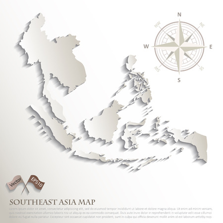 southeast: Abstract map of AEC nations, ASEAN Economic Community, vector illustration,