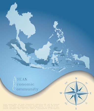 asean: Abstract AEC (ASEAN Economic Community) map in blue tone, grunge style with compass icon on light yellow background, vector illustration, EPS10
