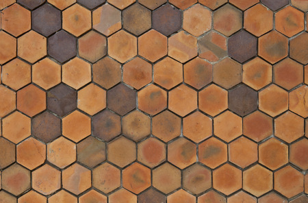 yellow hexagonal clay tile wall background, abstract wall