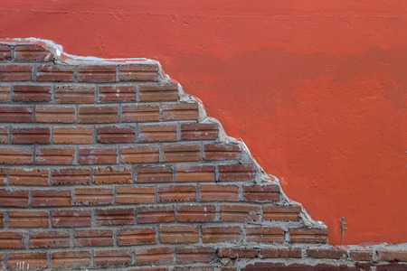 snazzy: red painted and brick wall background having lizard or gecko on the wall