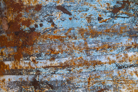 corrosion: rust on blue painted metal texture, classic text background, metal surface, abstract of rusty metal