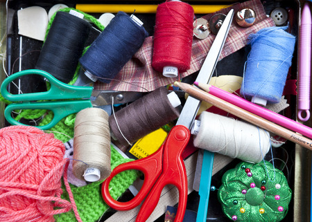 basket embroidery: A basket of accessory for embroidery, needleworks. Threads and needles Stock Photo
