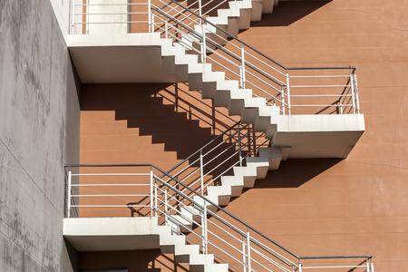 emergency stair: side view of emergency door besides building