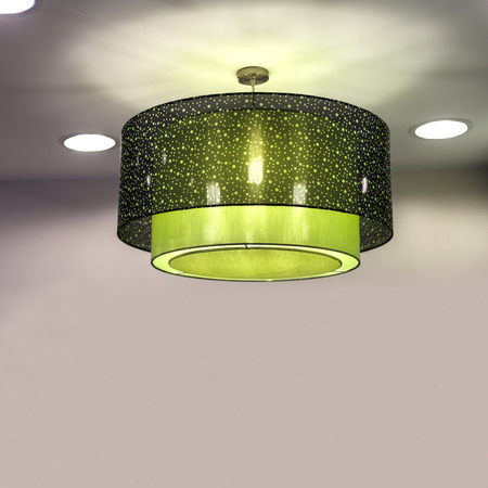 modern green chandelier, lighting lamp wrapped with green cloth 免版税图像