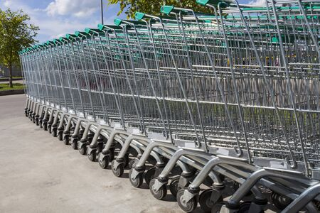 shopping carts in a curved row outdoor on cement yard