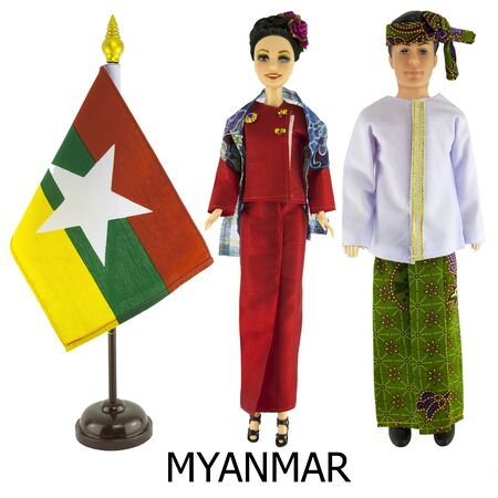 modest: myanmar national dress for man and woman wered on dolls and the desktop myanmar nation flag