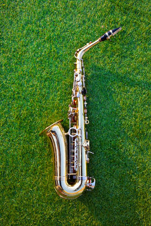 golden saxophone lies on the artificial grass background, a blowing musical instrument. 免版税图像