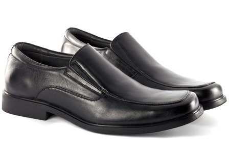 footware: Modern black leather shoes for male or men, no string isolated on white background