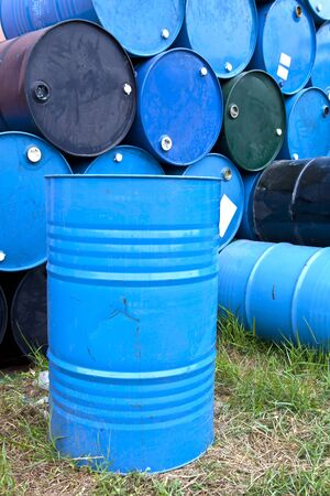 Blue barrels or tanks for oil , gasoline, asphalt, chemical substance. steel conatiner