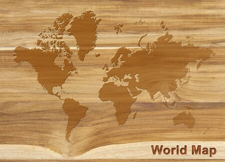 world map on texture of teak wood background, wood plank 免版税图像