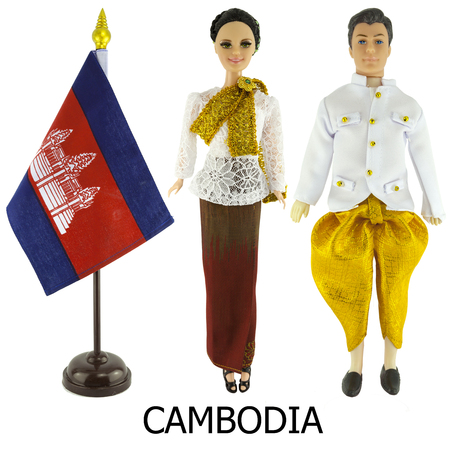 cambodia national dress for man and woman wered on dolls and the desktop cambodia nation flag