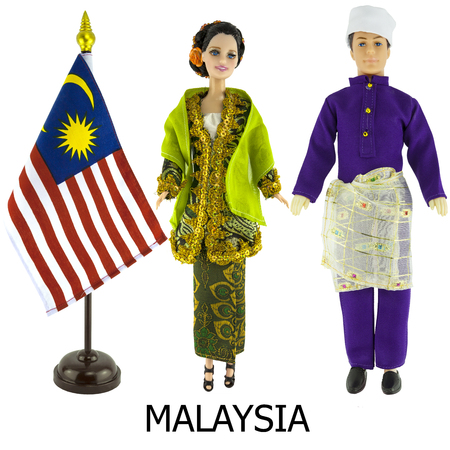 modest fashion: malaysia national dress for man and woman wered on dolls and the desktop malaysia nation flag
