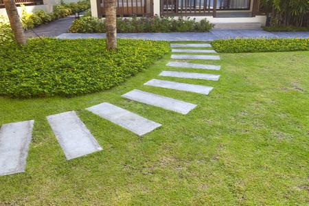 Jardinería, campo de hierba verde y el camino pasarela Foto de archivo - 47341002