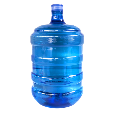clear blue drinking water container isolated on white background