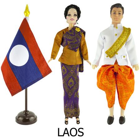 identidad cultural: vestido nacional loas para el hombre y la mujer wered en las muñecas y el escritorio laos bandera de la nación