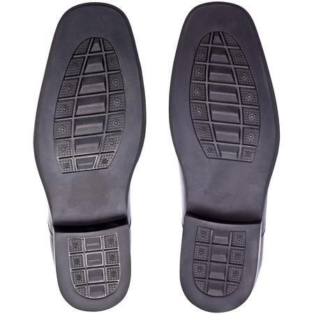 schwarze Gummischuhsohlen von, männlich oder Mannschuhe, Fuß Schritt, Fußdruck, isoliert auf weiß Blackground