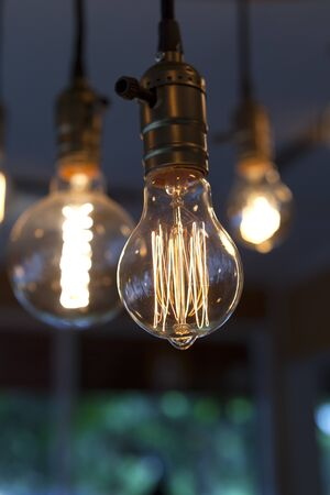 beautiful glowing tungsten light bulbs