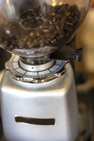 coffee bean in coffee grinder