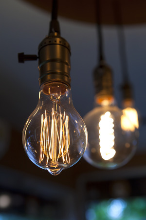 glowing tungsten light bulbs