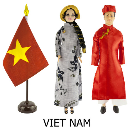 viet nam: viet nam national dress for man and woman wered on dolls and the desktop vietnam nation flag