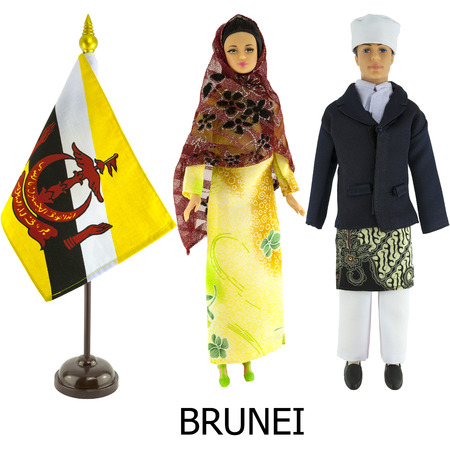 modest fashion: brunei national dress for man and woman wered on dolls and the desktop brunei nation flag