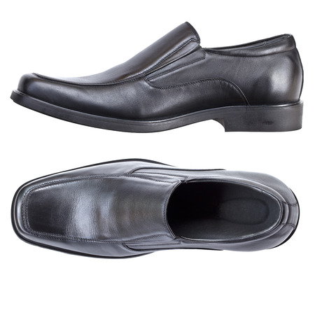 footware: Modern black leather shoes for male or men, no shoe string isolated on white background, top view and side view