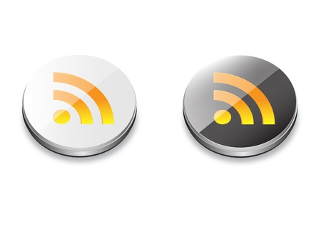 Rss glossy icon with black and white colour Illustration