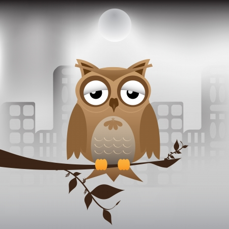 owl on branch: brown owl and polluted city