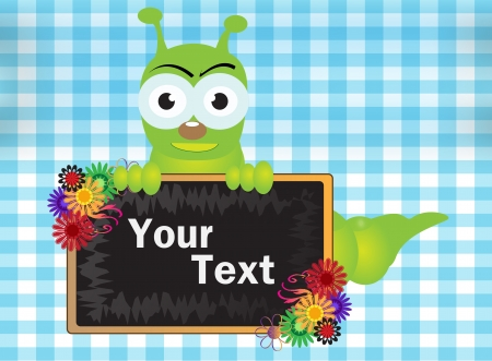 caterpillar and blackboard with background Illustration