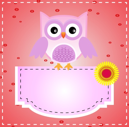Cute purple owl Vector