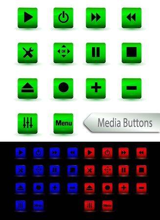 Set of multimedia players buttons with green blue and red color Illustration