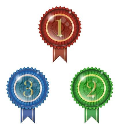 123 badge winner ribbon and glossy