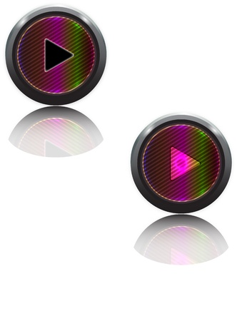 Rainbow Play Buttons with shadow