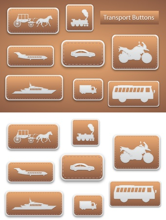 eight transport buttons with brown color and backgorund Illustration