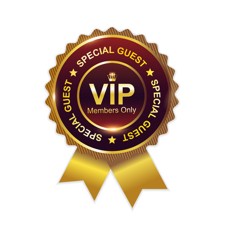 Vip badge with ribbon and glossy Vector