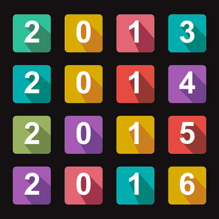 Flat icons years 2014