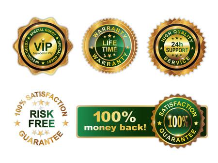Golden green badges guarantee  Illustration
