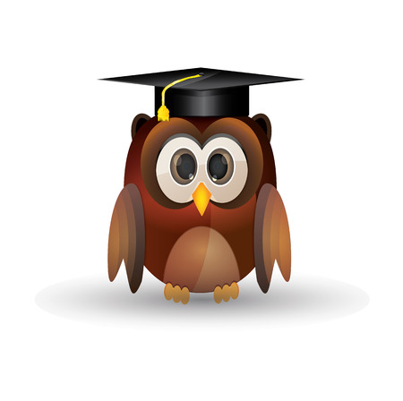Brown owl using graduation cap Vector