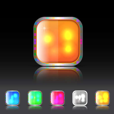 Beautiful Color Icon with glossy effect and shadow Illustration
