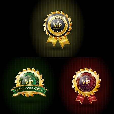 Set vip with three color gold, green, red Vector