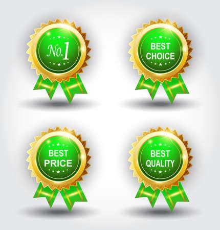 Set of best badge green color Illustration