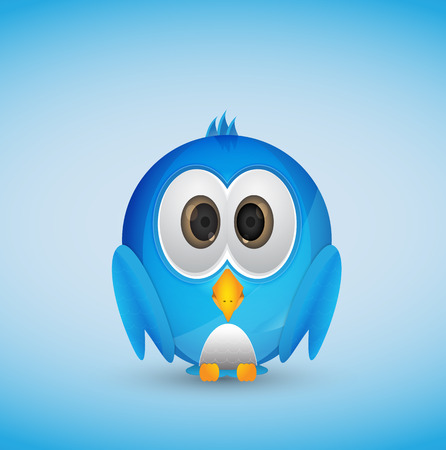 Cute blue bird with blue background Stock Vector - 26538425