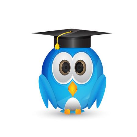 cute blue bird in graduation cap Illustration