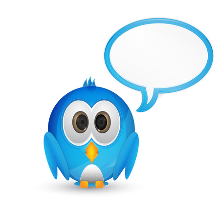 cute blue bird with speech bubble for text Vector