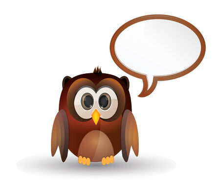 brown cute owl with text bubble