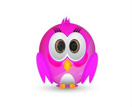 pink cute little bird or bird in pink colour Illustration