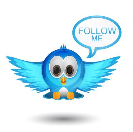 flying bird with speech bubble follow me