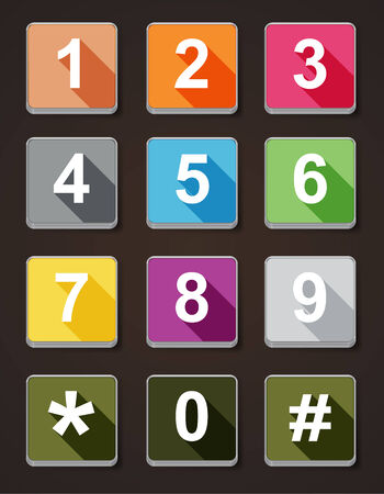 Colorful Icon number phone dial with dark background