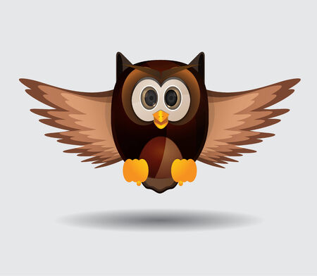 cute flying owl wirth brown color Illustration